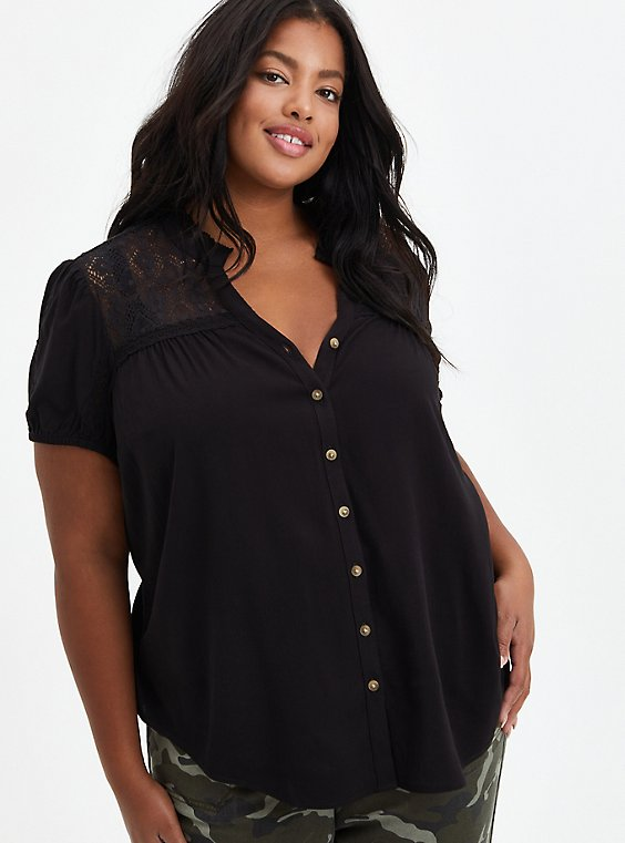 Lace Inset Blouse - Textured Stretch Rayon Black, DEEP BLACK, hi-res