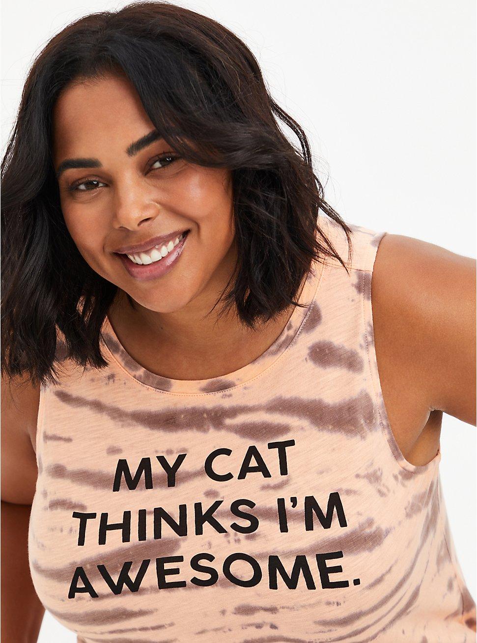 Classic Fit Tank - Cat Thinks Tie-Dye Peach, PEACH NECTAR, hi-res