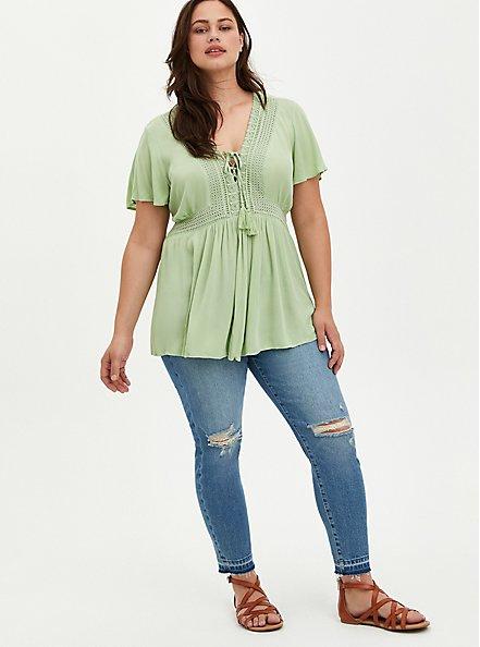 Lace-Up Babydoll - Crinkle Gauze Green, GREEN, alternate