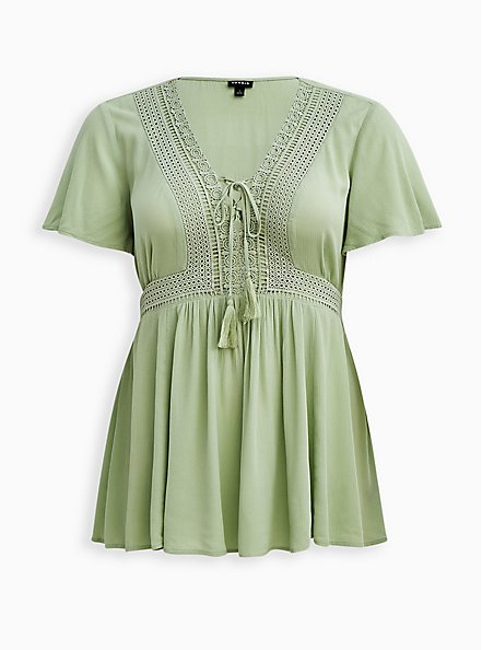 Lace-Up Babydoll - Crinkle Gauze Green, GREEN, hi-res