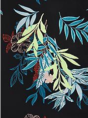 Black Leaves High-Low Georgette Blouse, FLORAL - BLACK, alternate