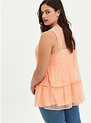 Tiered Tunic Tank - Lace Coral, PEACH NECTAR, alternate