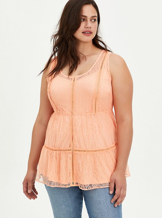 Tiered Tunic Tank - Lace Coral, PEACH NECTAR, hi-res