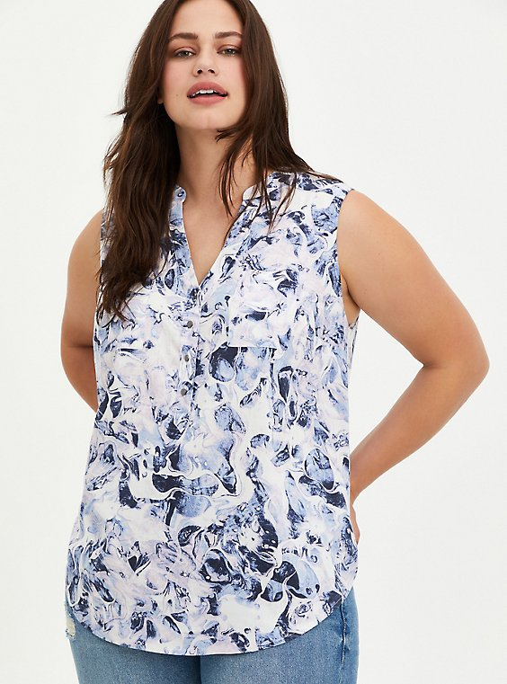 Harper - Blue Marble Textured Stretch Rayon Tank, MARBLE - WHITE, hi-res