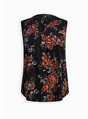 Harper Tank - Textured Stretch Rayon Floral Black, FLORAL - BLACK, hi-res