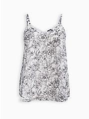 Sophie - Sketch Floral Chiffon Swing Cami, FLORAL - WHITE, hi-res