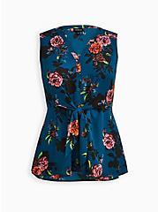 Peplum Tie Front Sleeveless Blouse - Georgette Floral Teal, FLORAL - TEAL, hi-res