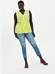 Neon Lime Georgette Peplum Blouse, SUNNY LIME, alternate