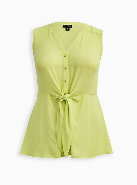 Neon Lime Georgette Peplum Blouse, SUNNY LIME, hi-res