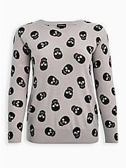 Raglan Sweatshirt - Skull Grey , MULTI, hi-res