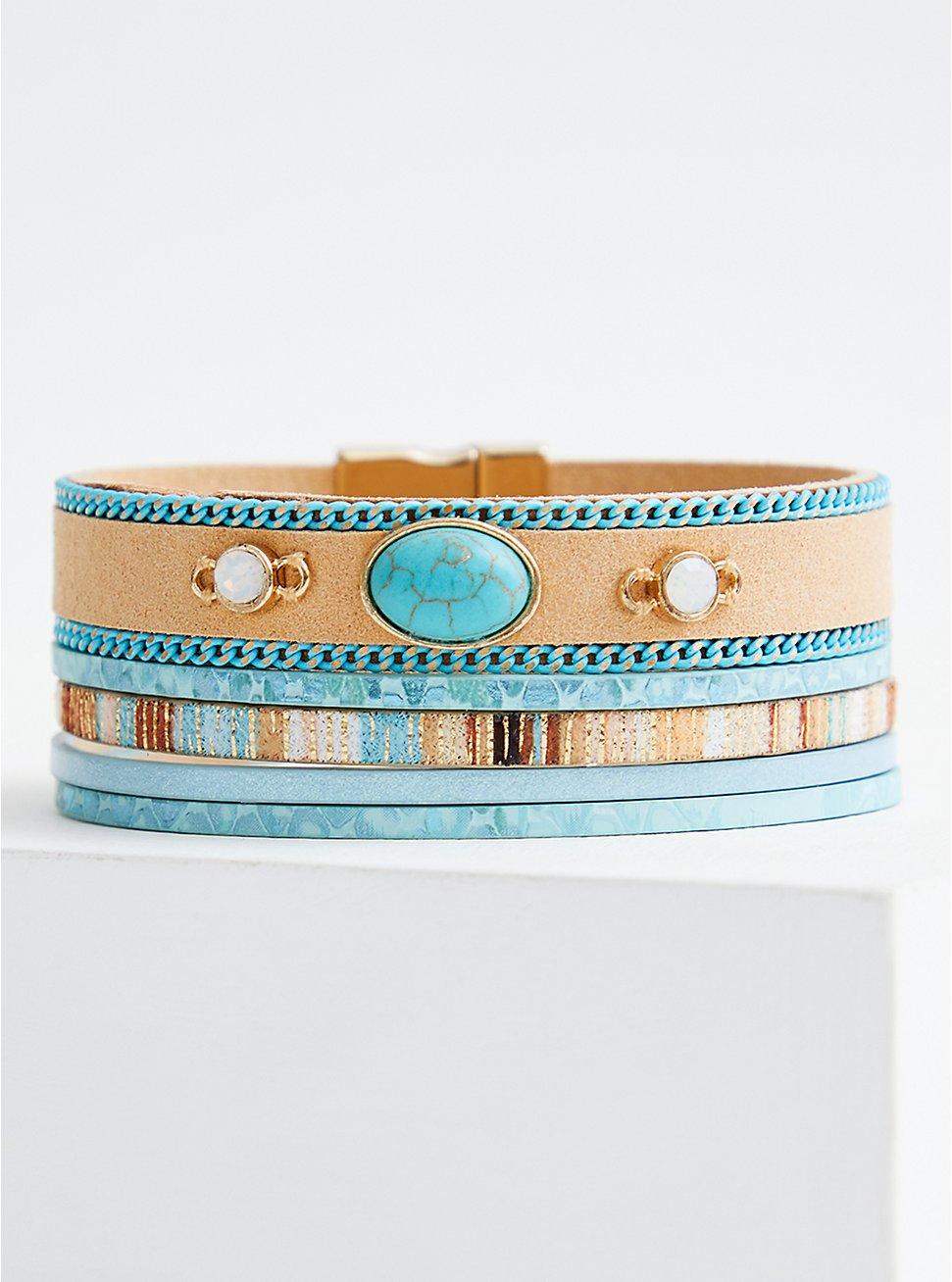 Faux Turquoise Stone Magnetic Bracelet, MULTI, hi-res