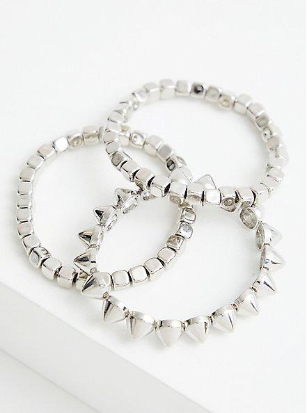 Beaded & Spiked Stretch Bracelet - Silver Tone , SILVER, alternate