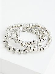Beaded & Spiked Stretch Bracelet - Silver Tone , SILVER, hi-res