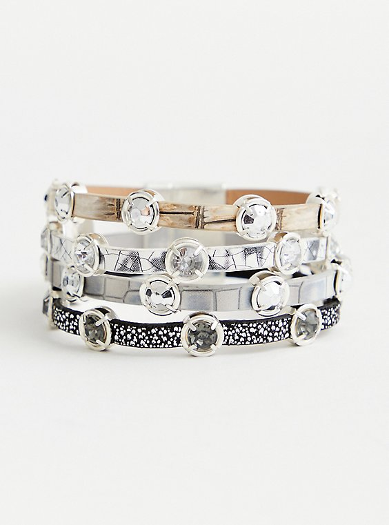 Silver Tone and Stud Bracelet, SILVER, hi-res