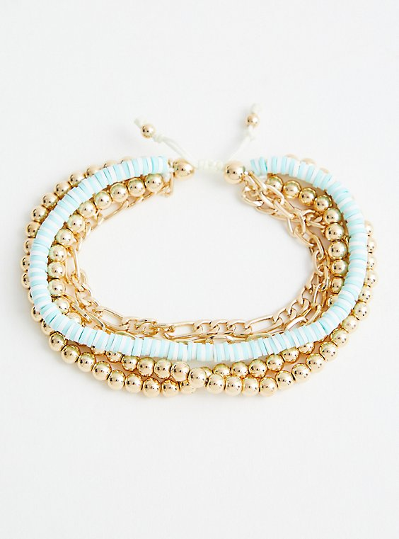 Beaded & Turquoise Disc Pull Clasp - Gold Tone , , hi-res