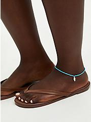 Plus Size Silver Tone With Faux Turquoise Bead Anklet Set, , alternate