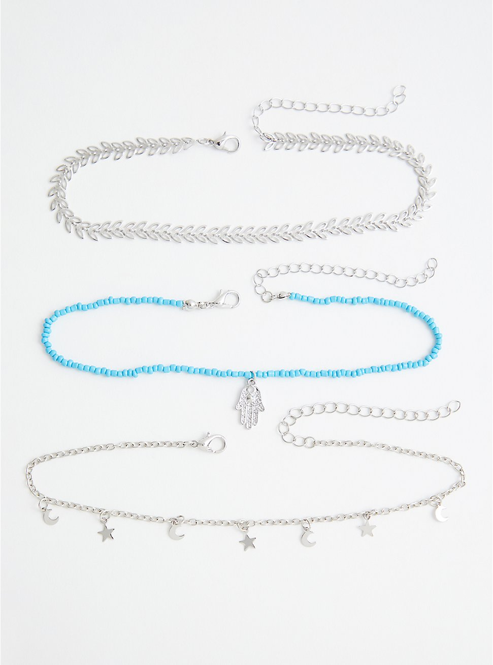 Plus Size Silver Tone With Faux Turquoise Bead Anklet Set, , hi-res