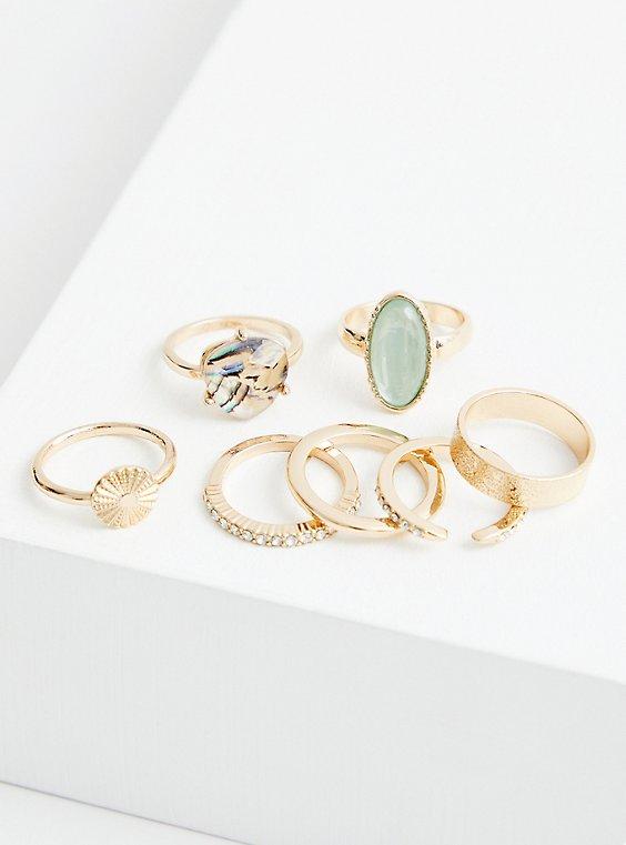 Faux Turquoise Stone Bracelet Set of 7 - Gold Tone , GOLD, hi-res