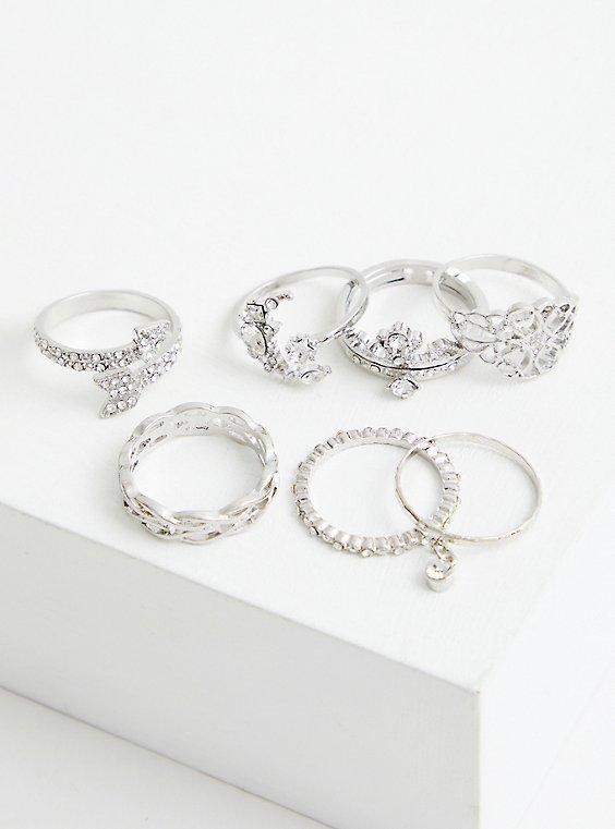 Crown & Moon Ring Set of 7 - Silver Tone , , hi-res