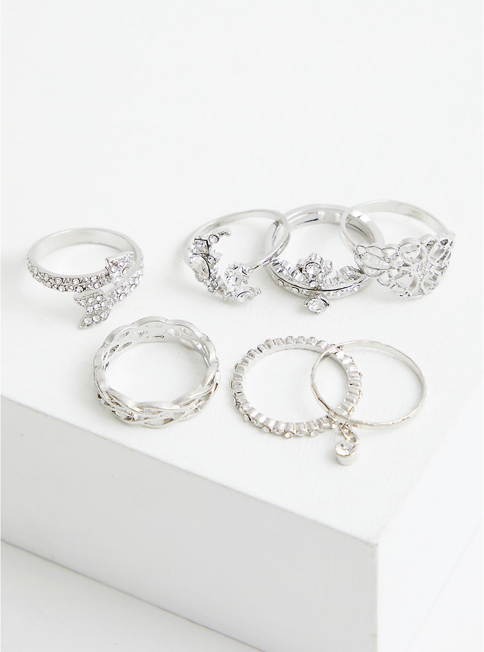 Crown & Moon Ring Set of 7 - Silver Tone , SILVER, hi-res