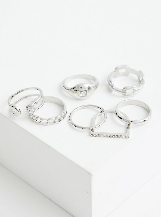 Plus Size Link Signet Ring Set of 7 - Silver Tone , SILVER, hi-res