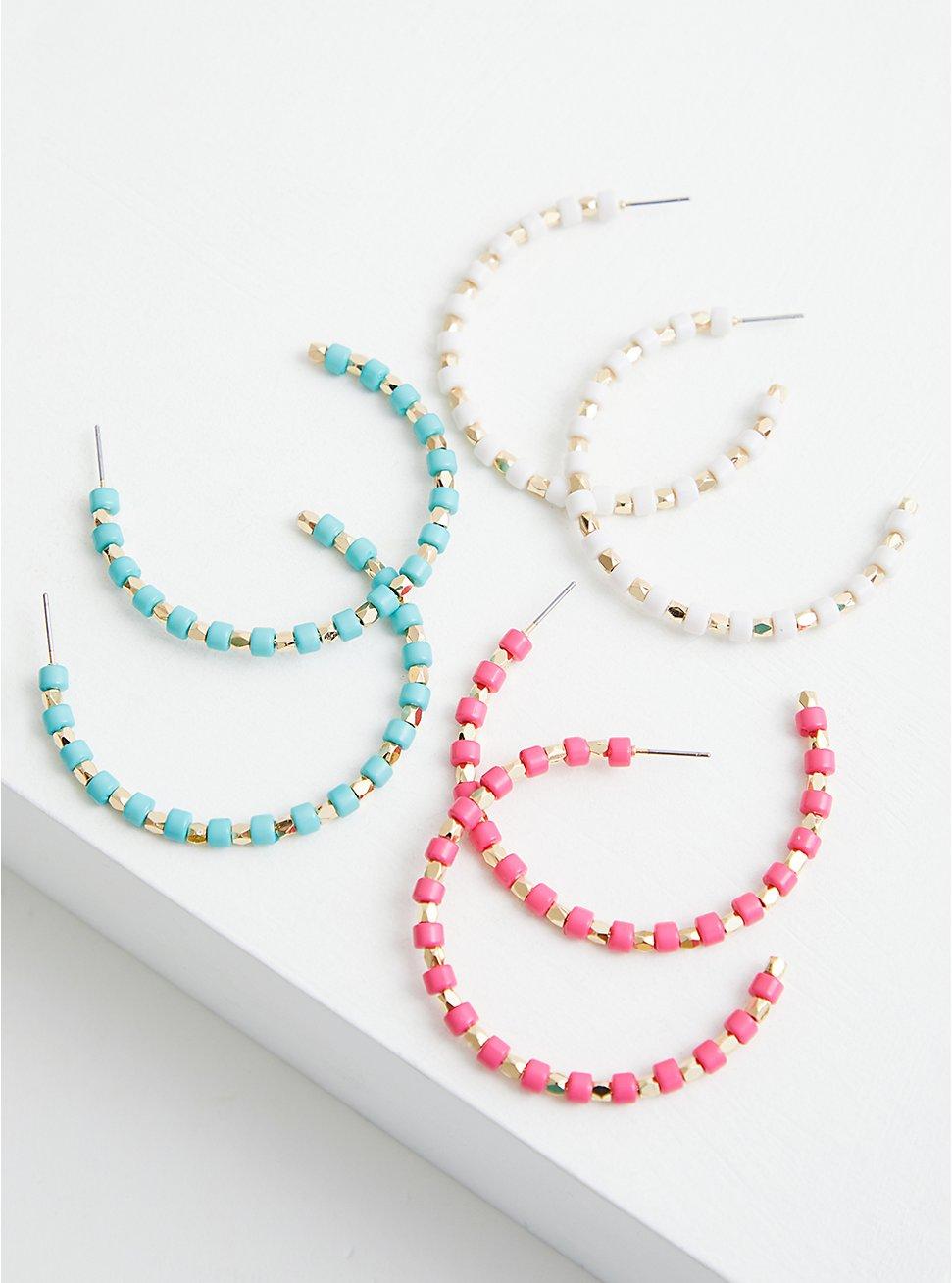 Multi Color Beaded Enamel Hoops - Set of 3, , hi-res