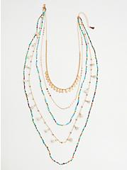 Plus Size Turquoise Beaded Layered Necklace - Gold Tone, , alternate
