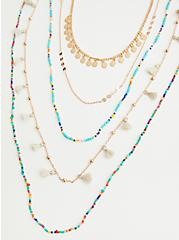 Plus Size Turquoise Beaded Layered Necklace - Gold Tone, , hi-res