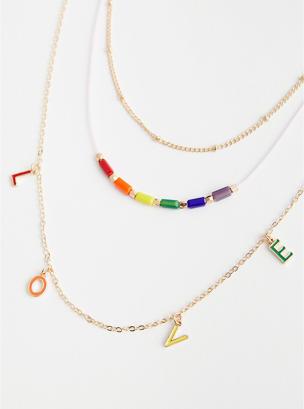 Celebrate Love Rainbow Love Layered Necklace - Gold Tone, , hi-res