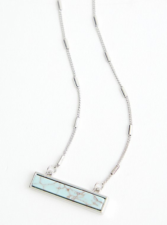 Faux Turquoise Bar Necklace - Silver Tone, , hi-res