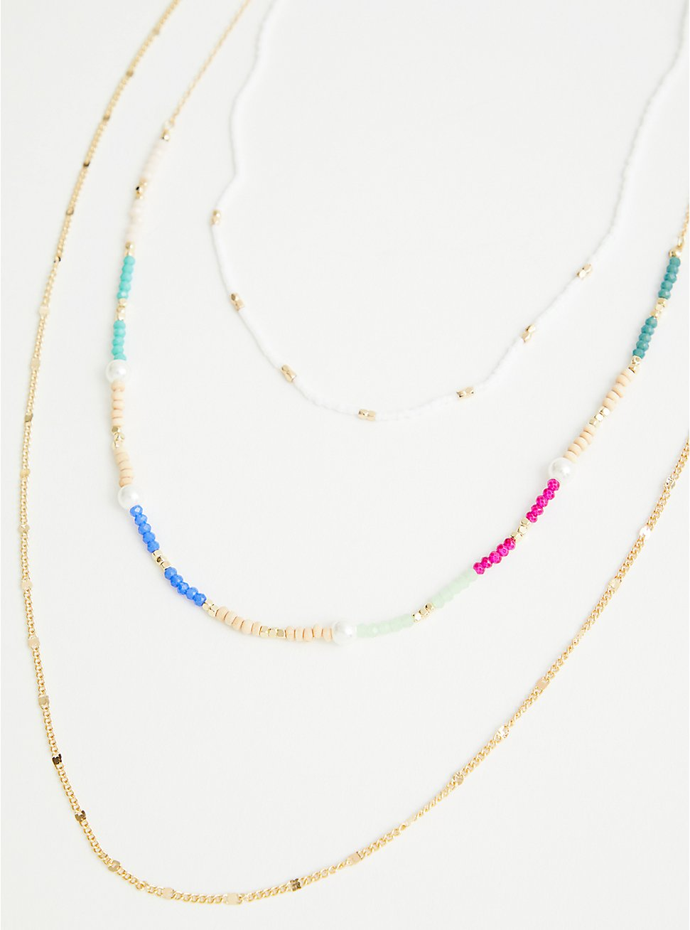 Color Block Beaded Layered Necklace - Gold Tone, , hi-res