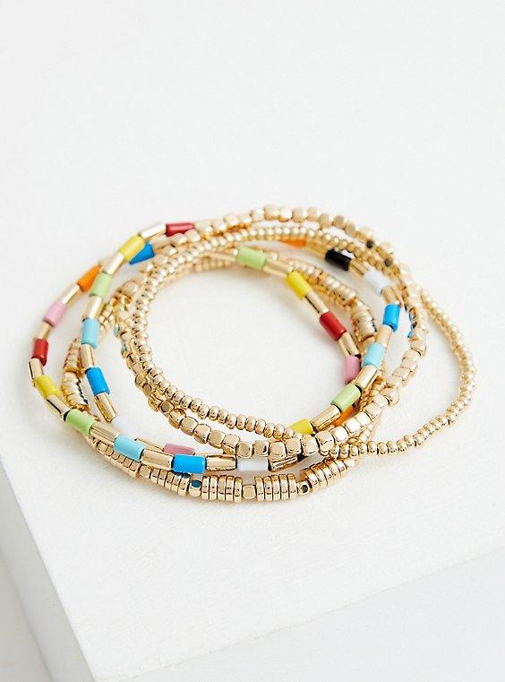 Plus Size Celebrate Love Rainbow Beaded Stretch Bracelet - Gold Tone, , hi-res