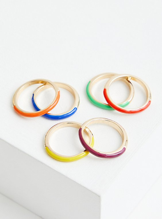 Celebrate Love Rainbow Enamel Ring Set Of 6 - Gold Tone, , hi-res