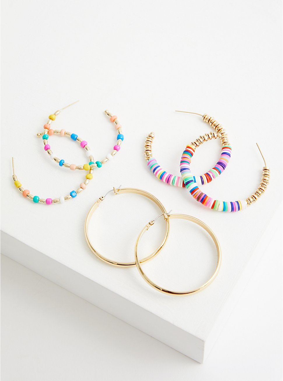Multicolor Beaded Hoop Set of 3 - Gold Tone, , hi-res