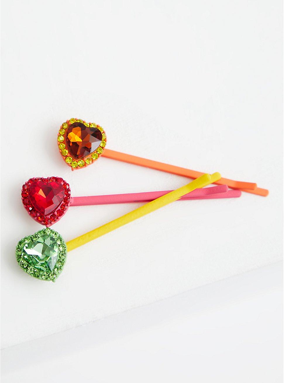 Celebrate Love Rhinestone Hair Clips - Multicolor, , hi-res