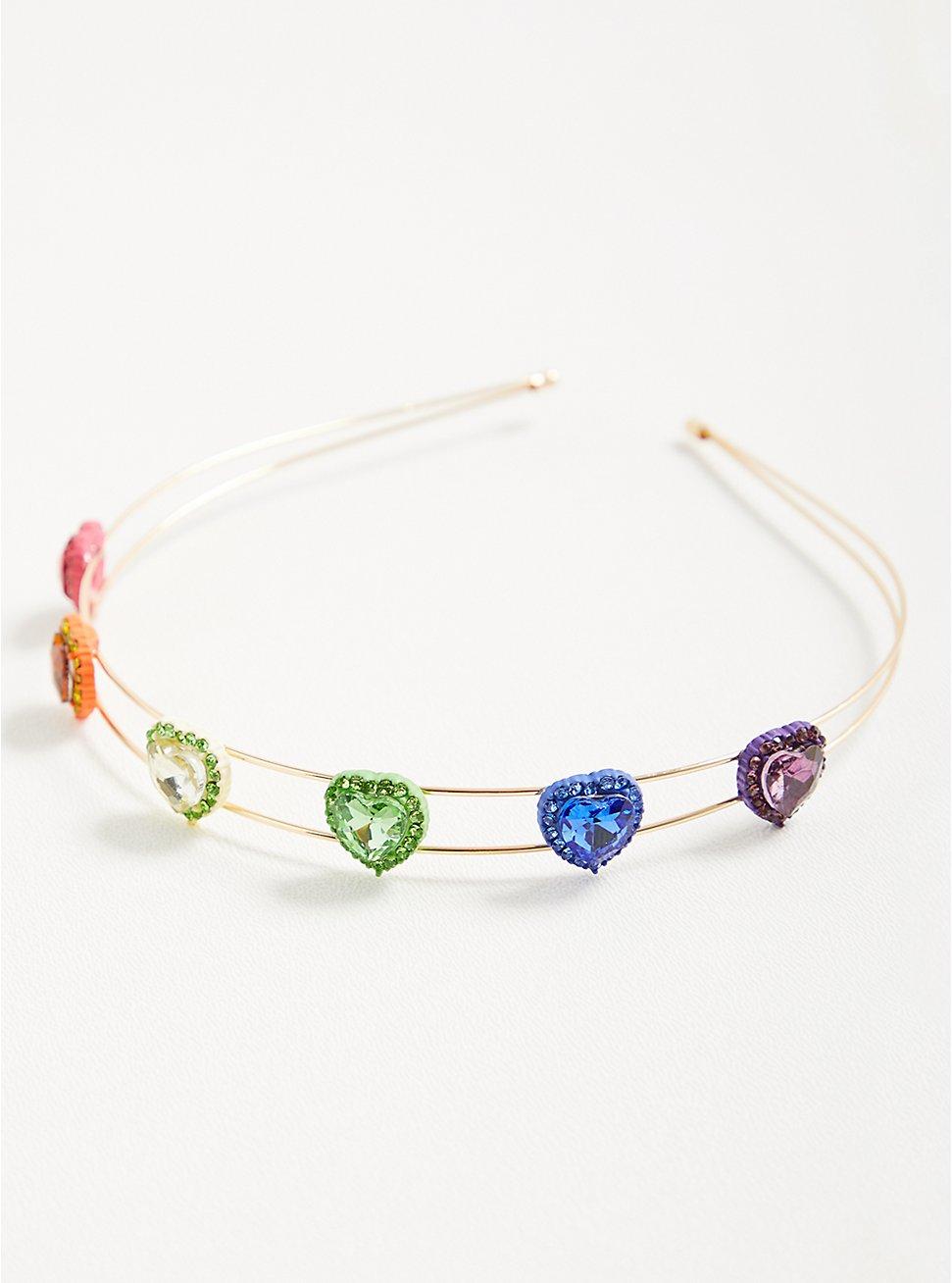 Celebrate Love Rainbow Rhinestone Heart Headband , , hi-res