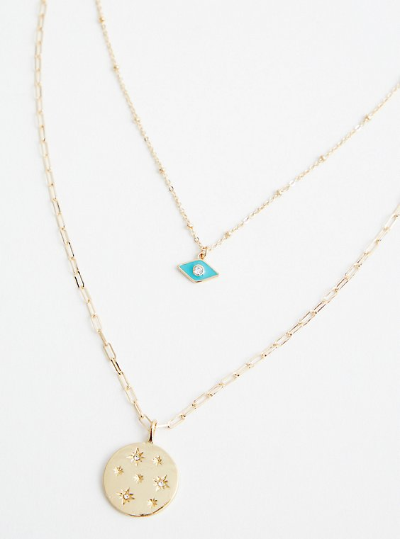 Turquoise Evil Eye And Disc Layered Necklace - Gold Tone , , hi-res