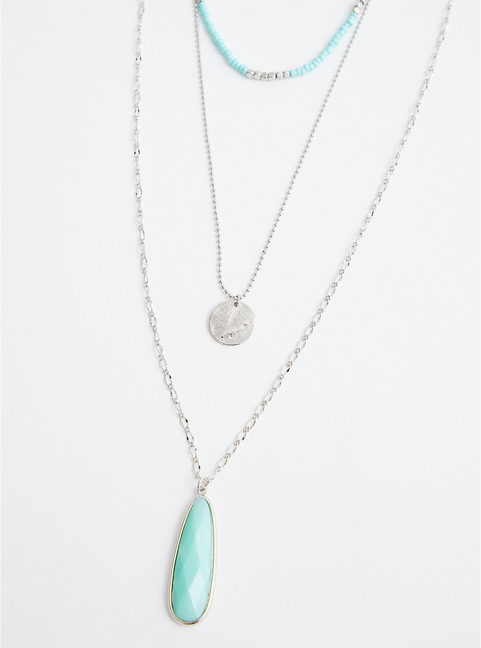 Faux Turquoise Pendant Layered Necklace - Silver Tone , , hi-res