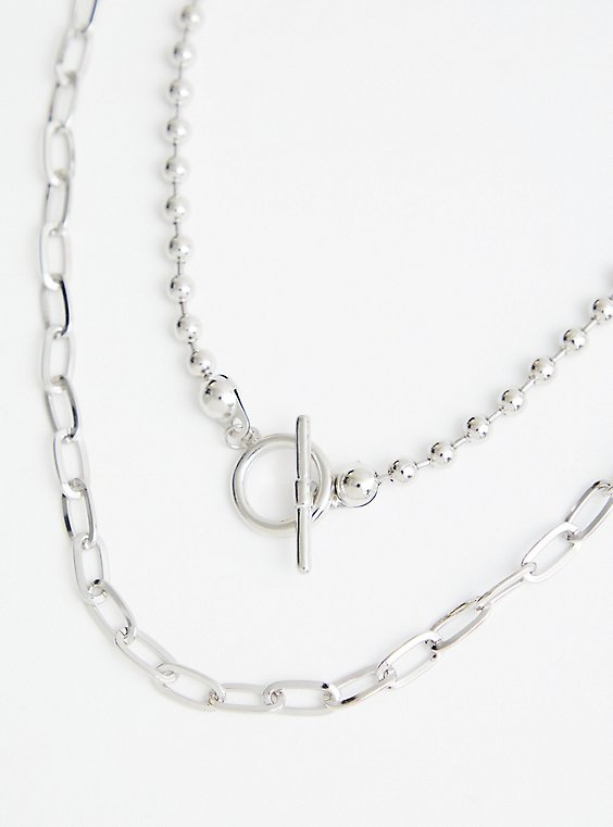 Bead And Link Toggle Necklace - Silver Tone , , hi-res