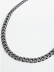 Hematite Pave Link Single Necklace, , hi-res