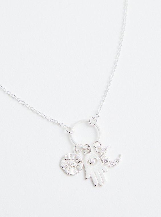 Silver Tone Hamsa & Celestial Delicate Necklace, , hi-res