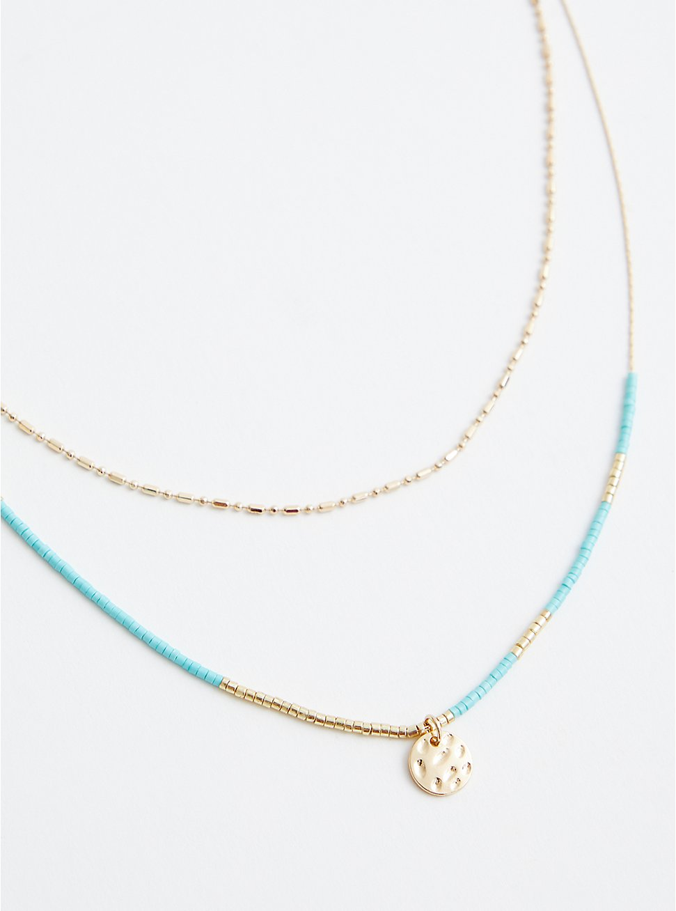 Gold Tone Turquoise Beaded Layered Necklace, , hi-res