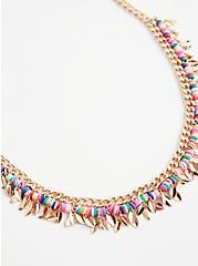 Multicolored Beaded Shaky Necklace - Gold Tone, , alternate