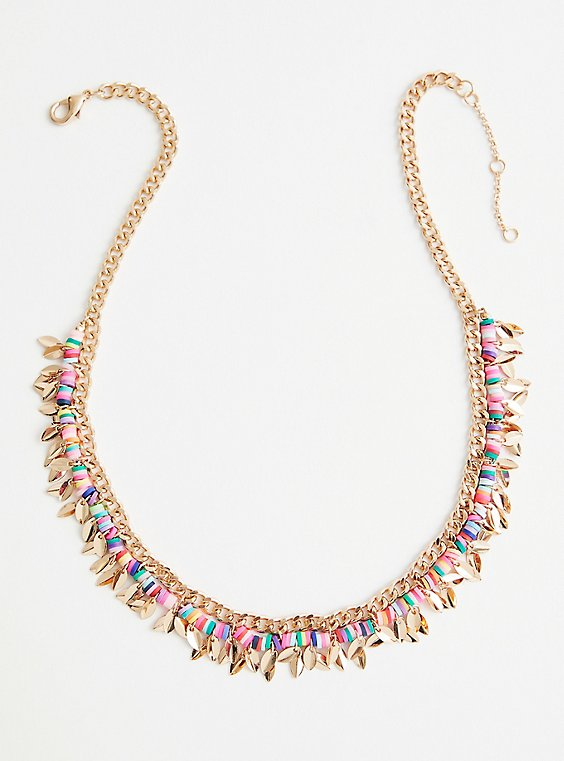 Multicolored Beaded Shaky Necklace - Gold Tone, , hi-res