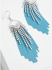 Silver Tone & Turquoise Fringe Earrings, , alternate