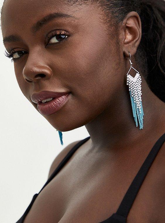 Silver Tone & Turquoise Fringe Earrings, , hi-res