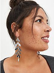 Hanging Leaf Statement Earring - Silver Tone, , alternate