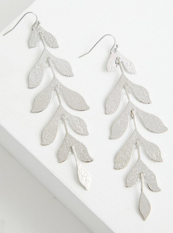 Hanging Leaf Statement Earring - Silver Tone, , hi-res