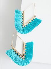 Gold Tone Turquoise Fringe Earrings, , alternate