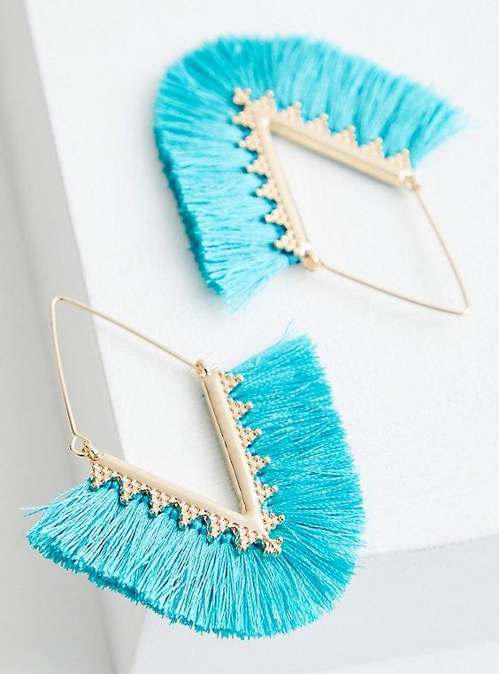 Gold Tone Turquoise Fringe Earrings, , hi-res